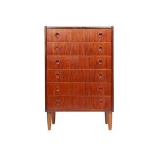 1960s Danish Modern Teak Highboy Dresser For Sale
