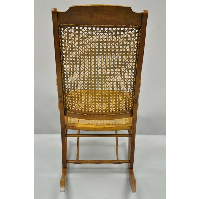 19th Century Antique Eastlake Victorian Cane & Maple Wood Primitive Rocker Rocking Chair For Sale - Image 9 of 12