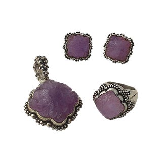 Dweck Amethyst & Sterling Silver Suite - Earrings, Ring & Pendant For Sale