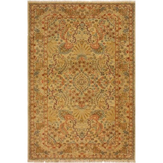 Istanbul Venessa Tan/Beige Turkish Hand-Knotted Rug -3'2 X 4'11 For Sale