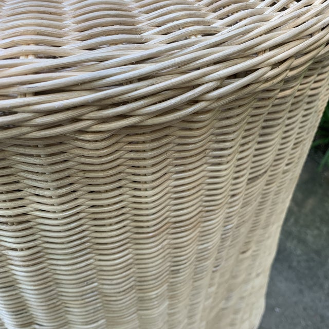 Trompe l'Oeil Round Top Draped Rattan Tables - a Pair For Sale In Atlanta - Image 6 of 12