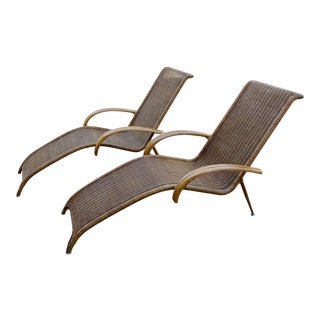 Mid Century Modern Danish Sculptural Woven Rattan Chaise Chairs - a Pair For Sale
