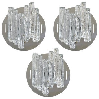 1960s Mid-Century Modern Italian Salviati Clear Geometric Murano Glass Sconces - Set of 3