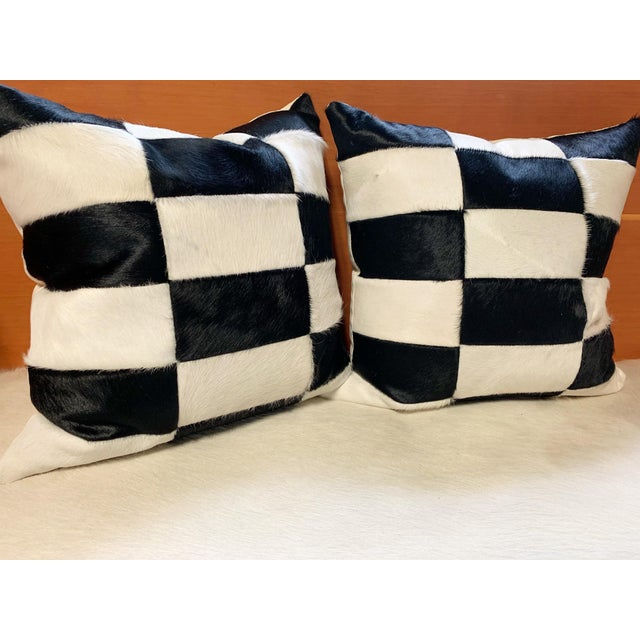 """2010s Black and White Patchwork Cowhide Pillow, 24"""" For Sale - Image 5 of 8"""