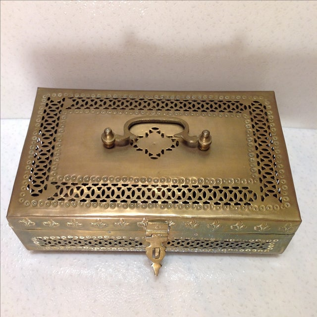 Ornate Vintage Hinged Brass Box - Image 4 of 10