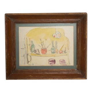 Modern Mid Century Vintage Still Life Drawing Yellow Purple Lithograph For Sale