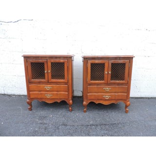 French Pair of Tall Cherry Nightstands End Side Tables by Mount Airy Preview