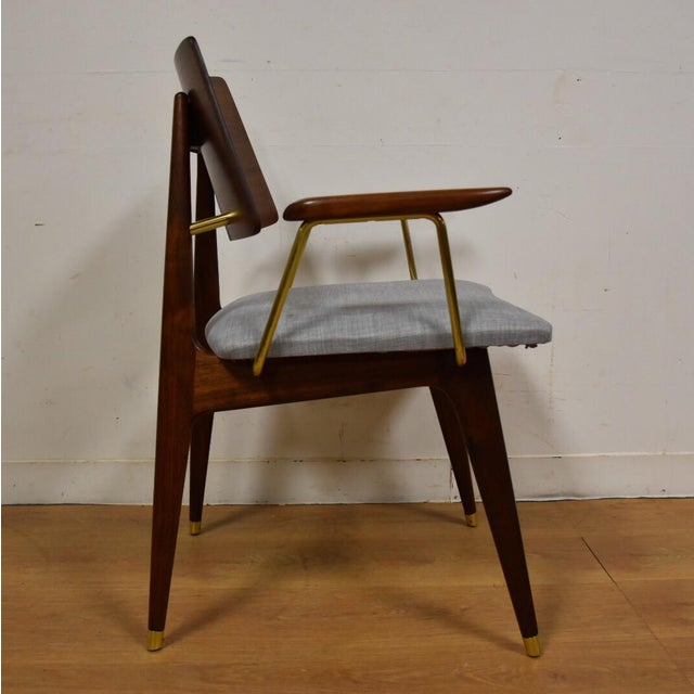 Walnut & Brass Occasional Chair - Image 5 of 11