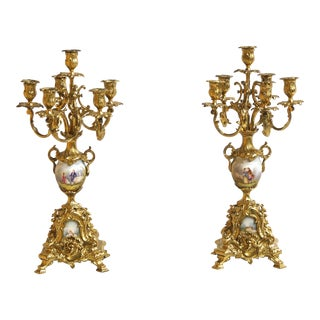 A Pair of 19th Century Sevres Style Porcelain With Mounted Gilt Bronze Candelabras For Sale