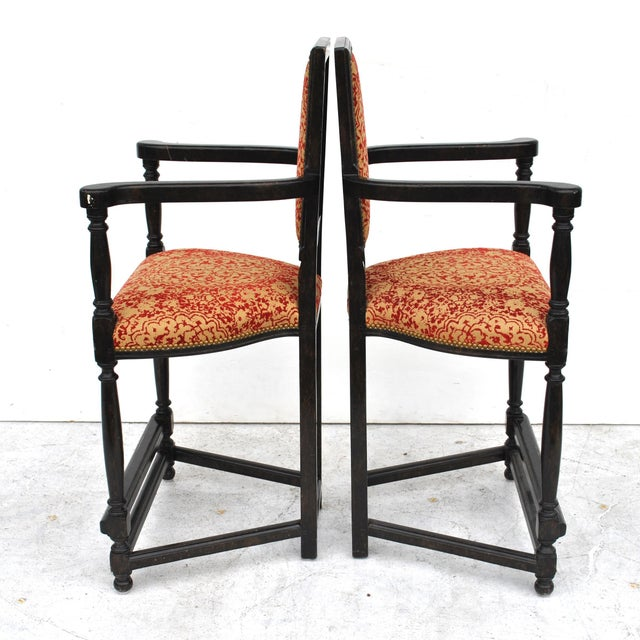 Pair of Louis XIII Style Ebonized Stools by Dennis and Leen For Sale In Houston - Image 6 of 11