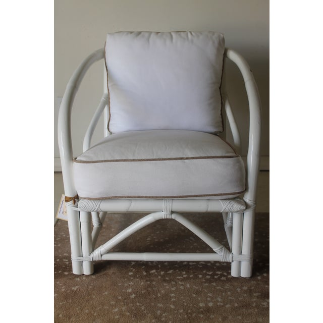 Wood Vintage Mid Century White Bamboo Chairs - a Pair For Sale - Image 7 of 12