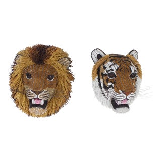 South African Beaded Glass Tiger and Lion Heads - A Pair For Sale