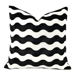 "F. Schumacher ""The Wave"" Black Velvet Pillow Cover - 20"" X 20"" For Sale"