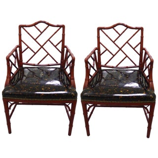 Pair of Red Faux Bamboo with Faux Tortoise Armchairs