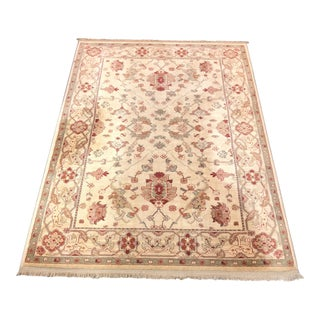 Persian Karastan Mahira Oushak Tan and Red Wool Floor Rug -4′4″ × 6′4″