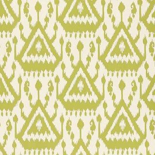 Sample - Schumacher Vientiane Ikat Wallpaper in Palm Green For Sale