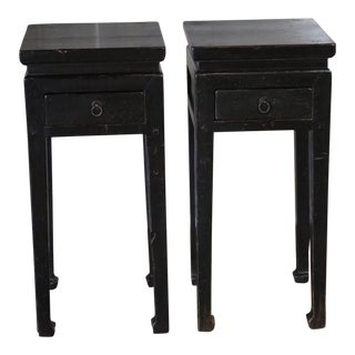 Chinese Black Lacquer Side Tables - a Pair For Sale