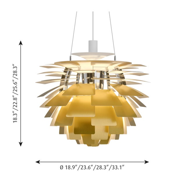 Monumental Poul Henningsen brass PH Artichoke chandelier for Louis Poulsen. This monumental pendant is the largest size...