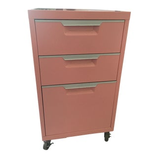 CB2 Pink Filing Cabinet For Sale