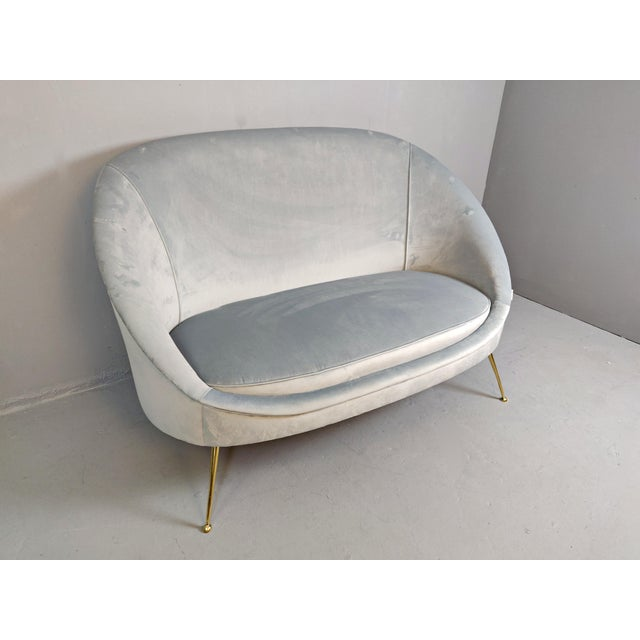 Mid 20th Century Italian Mid-Century Upholstered Sofa For Sale - Image 5 of 10