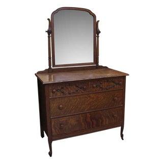 Late 20th Century Vintage Quarter Sawn Oak Dresser & Mirror For Sale