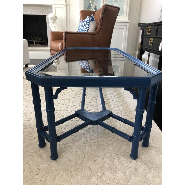Vintage Chinoiserie Faux Bamboo Painted Coffee Table For Sale - Image 10 of 11