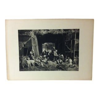 "Vintage Print on Paper, ""Shearing the Sheep"" by Paul Meyerheiner, Circa 1900 For Sale"