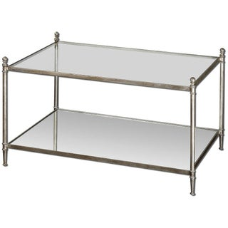 Silver-Leaf Mirrored Shelf Coffee Table For Sale