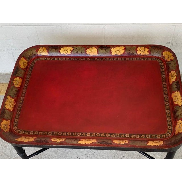 19th Century Regency Tole Tray Table in Red, Faux Bamboo Ebonized Base For Sale - Image 5 of 12