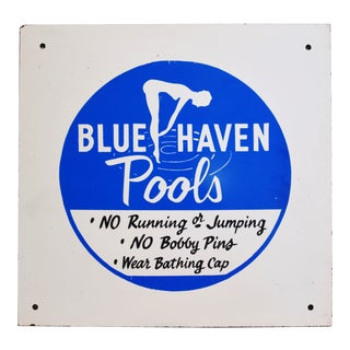 Vintage Hand-Painted Swimming Pools Rules Sign on Masonite Board For Sale