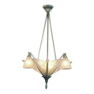 """Classic French Art Deco Chandelier, 6 Huge & Decorated """"Slip"""" Shades, 3 """"Tulipes"""" For Sale"""