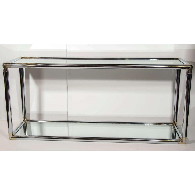Hollywood Regency Italian Mid-Century Modern Mirrored and Chrome Two Tier Console Table, C. 1970 For Sale - Image 3 of 12