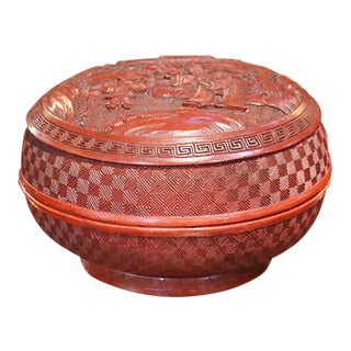 Chinese Red Lacquer Cinnabar Covered Bowl For Sale