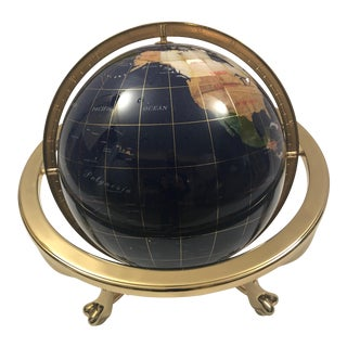 Inlaid Stone Globe With Compass For Sale