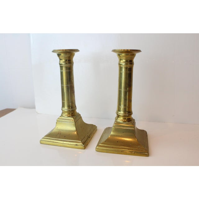 Modern Mid 20th Century Modern Brass Candleholders - a Pair For Sale - Image 3 of 6