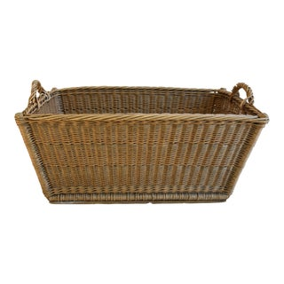 Early 1900s Handcrafted French Woven Wicker/Willow Market Basket