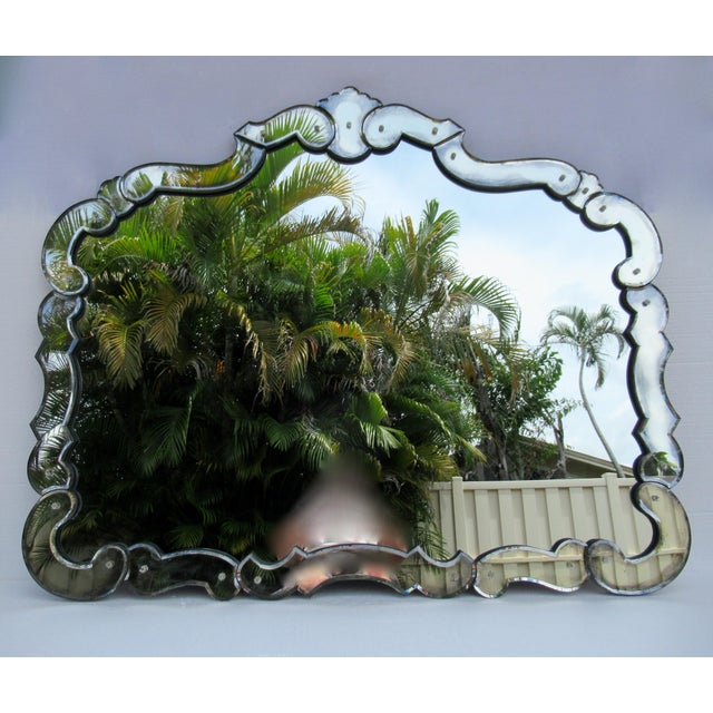 Large 1940's-50's Hollywood Regency Era, Venetian-Style Antique Acid Finished Wall Mirror For Sale - Image 13 of 13