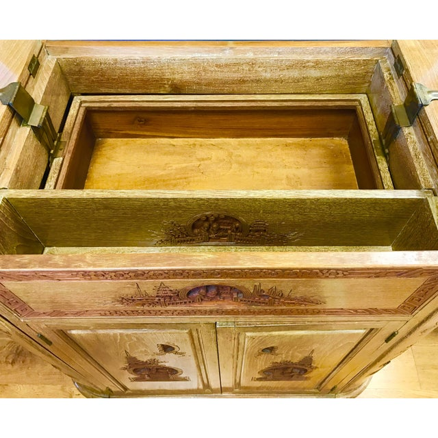 Asian Carved Asian Floating Bar Cabinet Server Buffet, Late 19th Century For Sale - Image 3 of 10