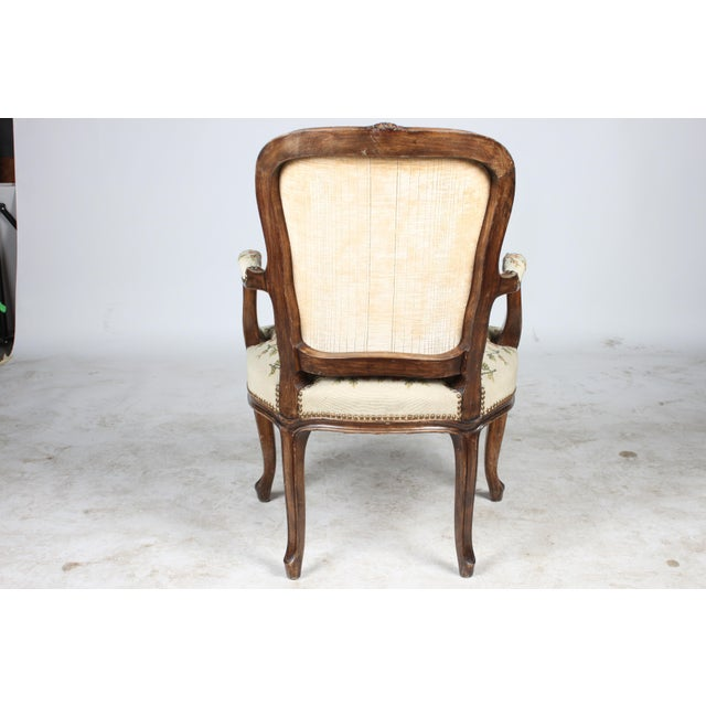 Needlepoint Walnut Fauteuil Chair For Sale - Image 4 of 5