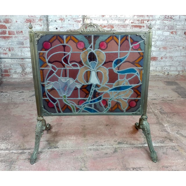 Gorgeous Art Nouveau Bronze & Stained Glass Fireplace screen For Sale - Image 10 of 12