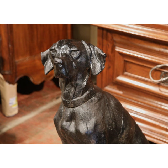 Pair of Lifesize French Iron Hunting Labradors Retrievers after Jacquemart For Sale - Image 4 of 10