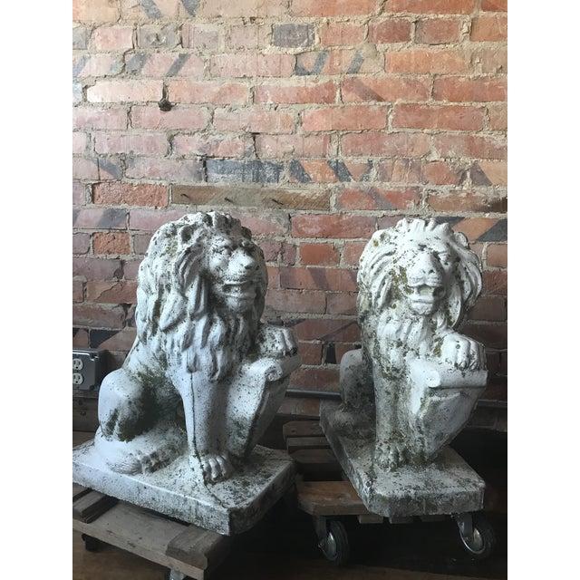 Art Deco Stone Lion Garden Statues - a Pair For Sale - Image 3 of 11