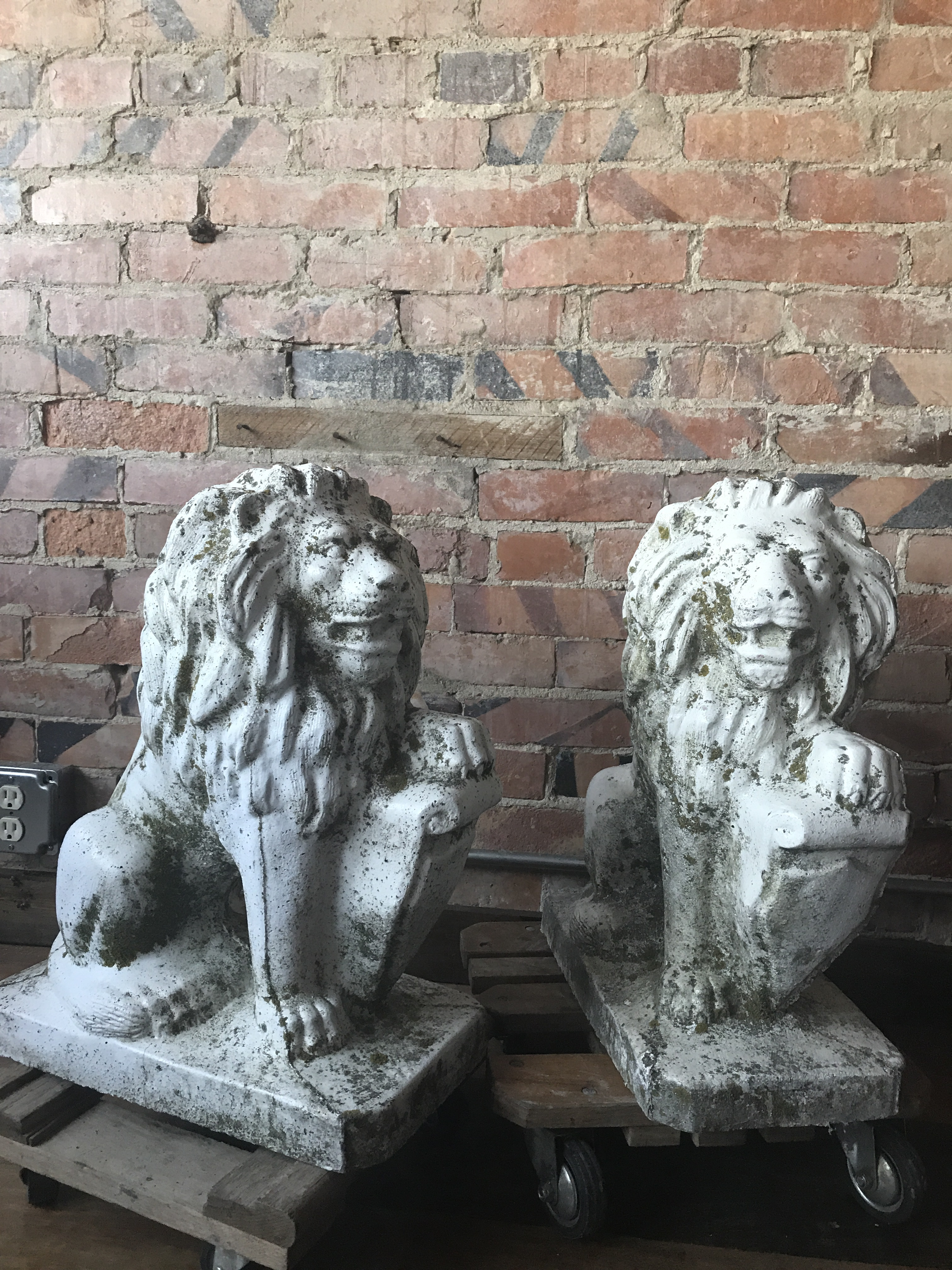 Art Deco Stone Lion Garden Statues   A Pair For Sale   Image 3 Of 11