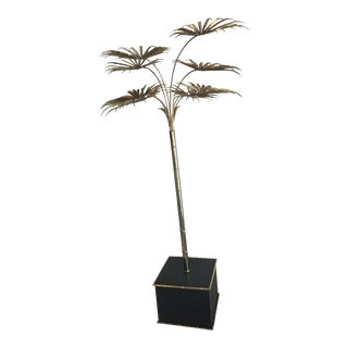 Italian Gold Palm Tree Metal Faux Bamboo Plant Brass Pot Statue