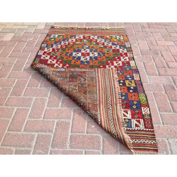 "Vintage Turkish Kilim Rug - 3'2"" x 5'2"" For Sale In Raleigh - Image 6 of 6"