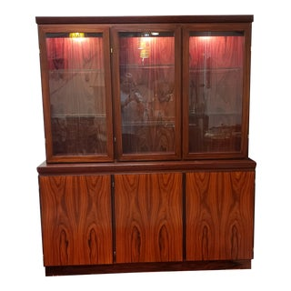 Danish Modern Rosewood China Hutch by Skovby For Sale