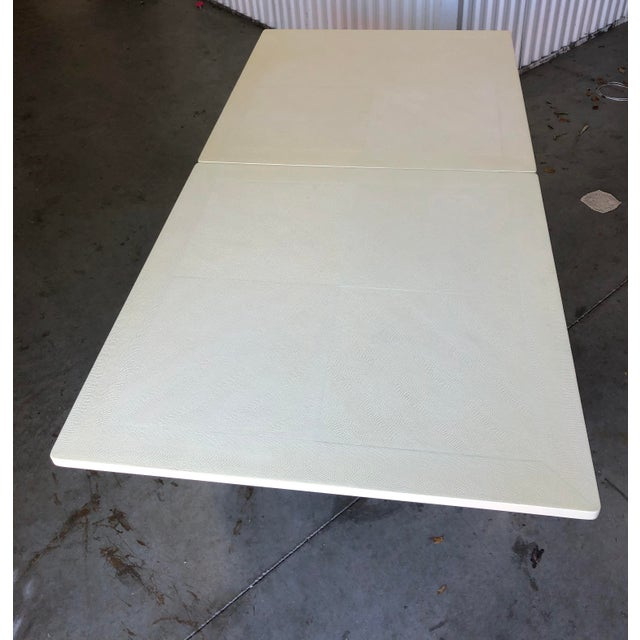 White Minimalist White Reptile Leather Wrapped Square Flip Top Dining Table For Sale - Image 8 of 13