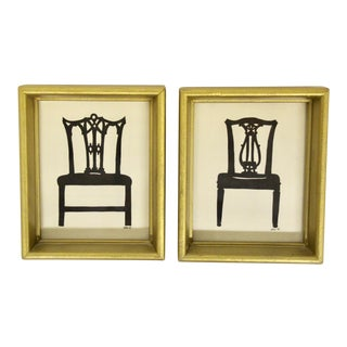 English Papercut Chair Silhouettes, Pair For Sale