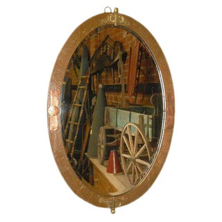 Oval Mirror in Copper and Brass Frame For Sale
