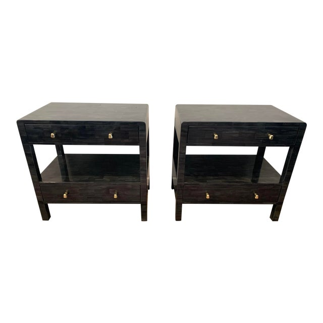 Faux Horn Nightstands From Made Goods-a Pair For Sale